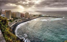 Картинка побережье, здания, Испания, Spain, Канарские острова, Canary Islands, Атлантический океан