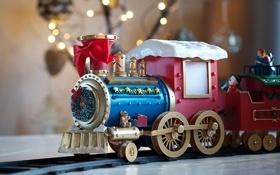 Обои праздник, игрушка, игра, игрушки, паровозик, бант
