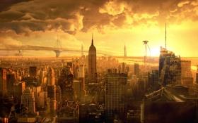 Обои графика, война миров, нью-йорк, конец света, инопланетяне