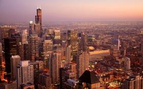 Обои город, Чикаго, США, Chicago, Иллиноис, панорамма