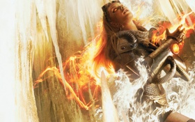 Картинка девушка, огонь, пламя, Magic The Gathering, MTG, Chandra, пиромант