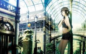 Картинка девушка, мост, город, здание, фонарь, галерея, арка