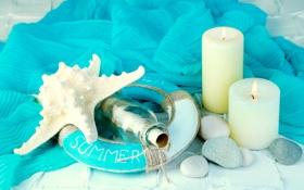 Обои камни, starfish, summer, bottle, candles, marine, свечи