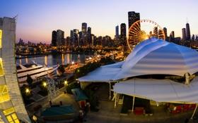 Картинка огни, небоскребы, вечер, яхта, Чикаго, колесо обозрения, ресторан
