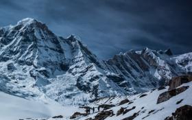 Обои скалы, небо, mountains, горы, снег, вершины