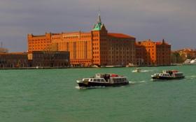 Обои город, река, фото, здания, Италия, Венеция, катера