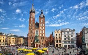 Картинка Польша, Краков, рыночная площадь, Мариацкий костел, памятник Мицкевичу