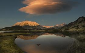 Обои горы, небо, озеро, облако