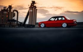 Картинка красный, завод, бмв, BMW, профиль, red, E30