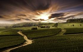 Картинка дорога, небо, деревья, Франция, поля, зарево, домики