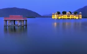 Обои небо, горы, огни, озеро, вечер, Индия, дворец