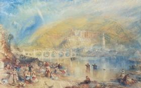 Картинка пейзаж, горы, мост, река, люди, картина, Уильям Тёрнер