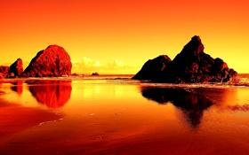 Картинка море, небо, закат, камни, скалы, зарево