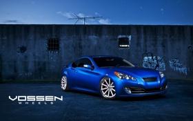 Картинка синий, стена, антенна, Hyundai, blue, хёндай, Genesis