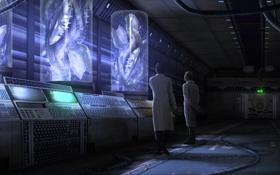 Обои фантастика, панель, арт, существа, помещение, ученые, халаты