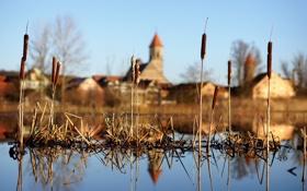Картинка небо, город, отражение, река
