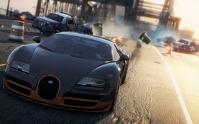 Обои авария, гонка, полиция, погоня, Bugatti Veyron Super Sport, need for speed most wanted 2