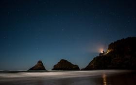 Обои пляж, деревья, скалы, маяк, Орегон, beach, trees