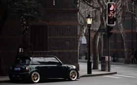Картинка город, улица, светофор, cooper, mini, мини.купер