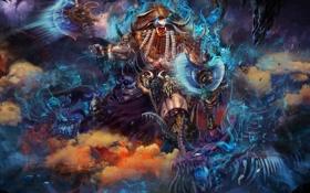 Обои оружие, дракон, монстр, воин, арт, ярость, рога