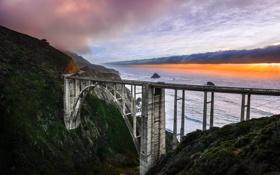 Обои побережье, небо, рассвет, California, природа, Bixby Bridge, мост