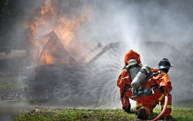 Обои water, car, fire suits, fire, respiratory protection equipment