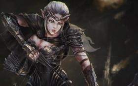 Картинка взгляд, девушка, эльф, лук, арт, стрелы, лучник