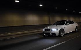 Обои белый, свет, bmw, бмв, скорость, white, тунель