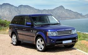 Обои небо, вода, горы, синий, джип, внедорожник, Land Rover