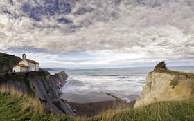 Картинка море, пейзаж, дом, берег