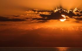Картинка море, небо, солнце, облака, закат