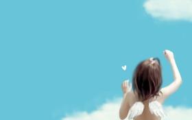 Обои облака, синева, спина, крылья, девочка, бант, сердечко