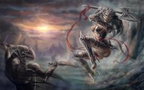 Картинка девушка, фантастика, злость, бой, воин, арт, броня