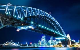 Картинка ночь, мост, город, река