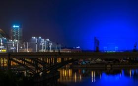 Обои ночь, мост, огни, река, Германия, фонари, Берлин