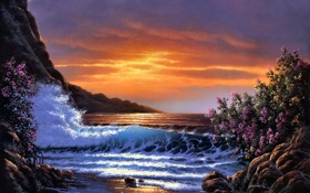 Обои waves, sea, sunset, painting, Derk Hansen, bush, bloom