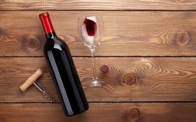Обои wine, floor, bottle, corkscrew