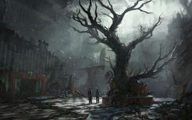 Картинка дерево, сумрак, арт, руины, романтика апокалипсиса, romantically apocalyptic, лианы