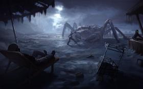 Картинка beach, night, crab, romantic apocalyptic