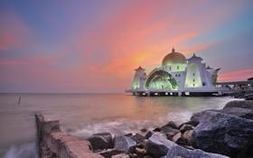 Картинка пролив, вечер, подсветка, мечеть, сумерки, Малакхский