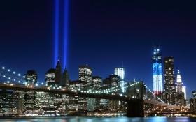 Обои свет, ночь, город, огни, река, Нью-Йорк, небоскребы