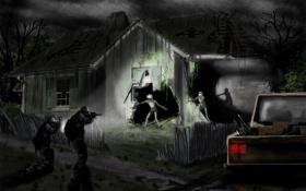 Картинка ночь, дом, полиция, арт, зомби, постапокалипсис