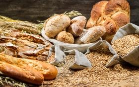 Обои хлеб, колосья, мешок, пшено, выпечка