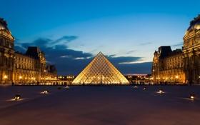 Картинка фонари, сумерки, вечер, Paris, огни, музей, город