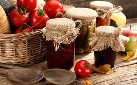Картинка корзина, яблоки, баночки, банки, фрукты, овощи, помидоры