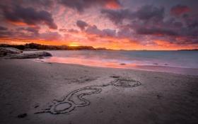 Картинка песок, пейзаж, пляж, скалы, рассвет, океан, камни