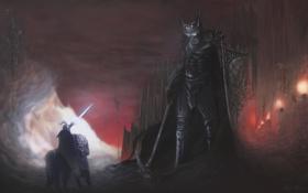 Картинка оружие, стены, доспехи, гигант, крепость, факелы, скелеты