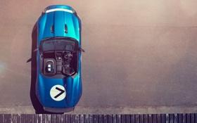 Обои car, Concept, Jaguar, автомобиль, blue, вид сверху, Project 7