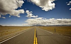 Обои дорога, небо, облака, фон, холмы, обои, трасса