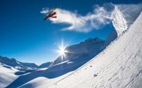 Обои солнце, снег, прыжок, лыжи, экстрим